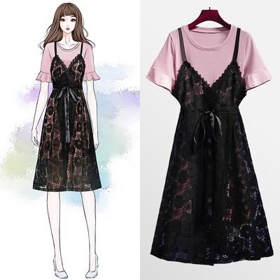 Bộ Áo Ngắn Tay + Chân Váy Phối Ren Xinh Xắn Dành Cho Nữ 2020