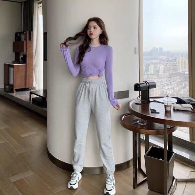 Set trang phục áo thun tím tay dài + quần dài xám thể thao (kèm ảnh thật) (SM)