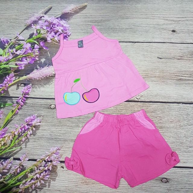 Chào buôn bộ áo 2 dây bé gái thêu đắp quả cherry size 1-8 dành cho bé từ 12-27 kg. Chất ctong hàng sài gòn buôn sỉ sll.