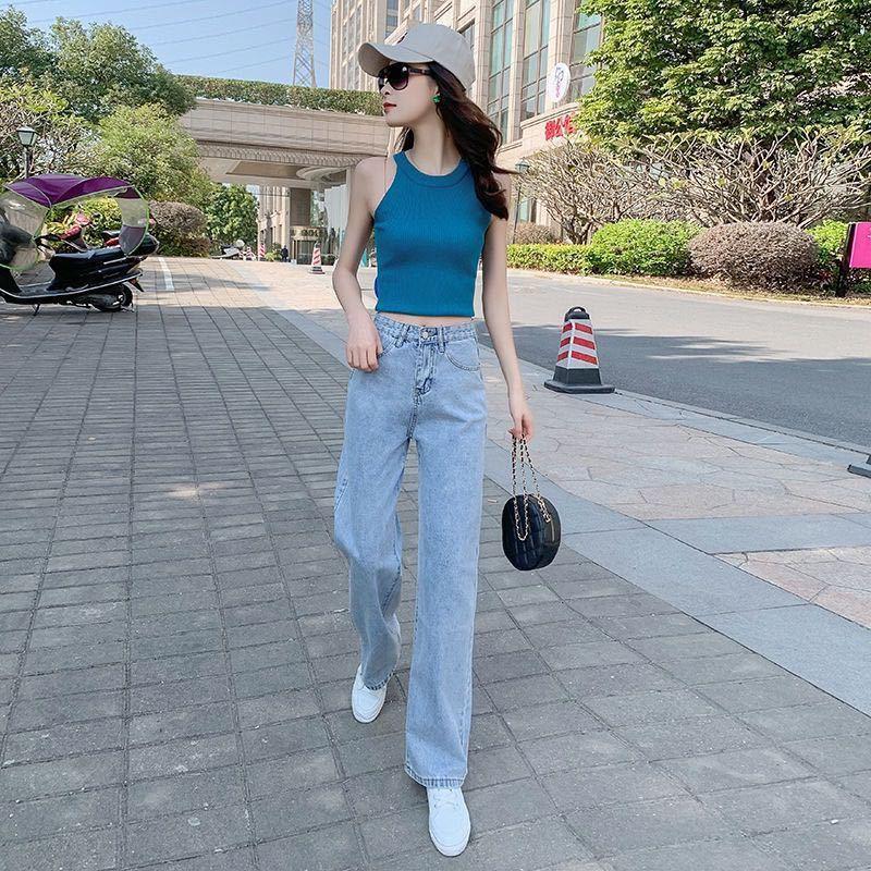 Quần Jeans Ống Rộng Lưng Cao Thời Trang Thanh Lịch Cho Nữ