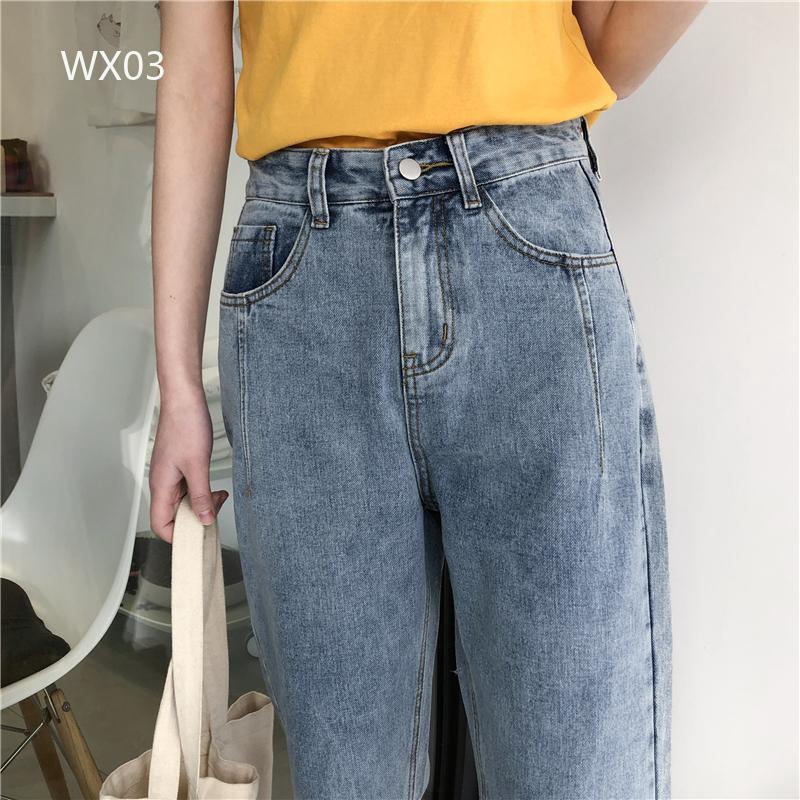 Quần jeans suông dài kiểu dáng đơn giản trẻ trung cho nữ