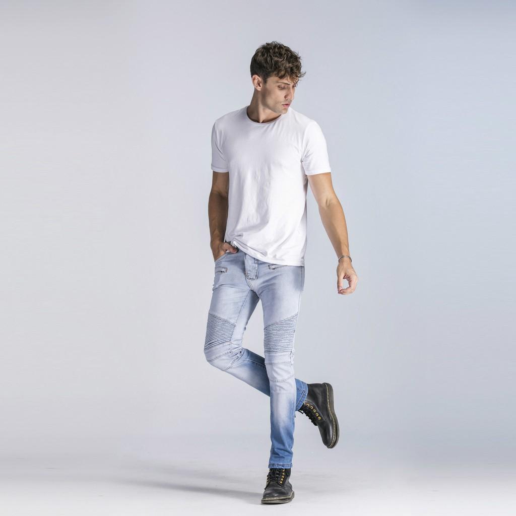 Quần jean trắng khóa kéo cho nam giới