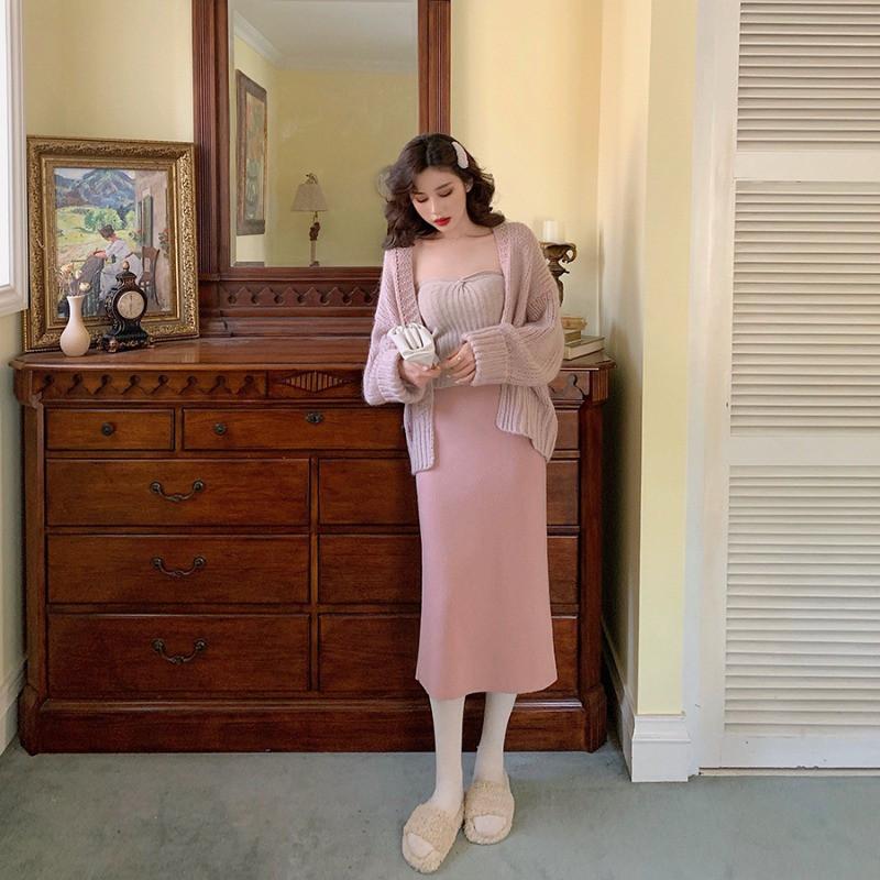 3520389510 - Set Áo Khoác Cardigan + Áo Bra + Chân Váy Lưng Cao Thời Trang Dành Cho Nữ