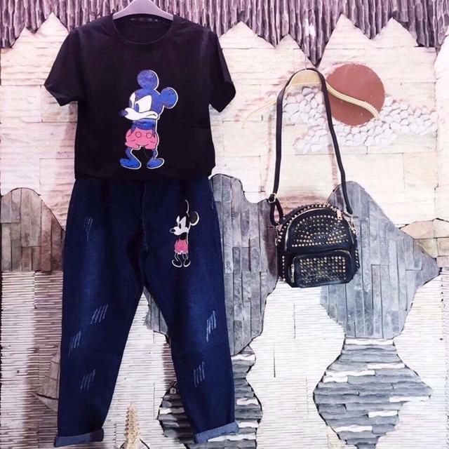 Freeship 99k TQ_Sét áo phông +quần bò hình micker siêu dễ thương