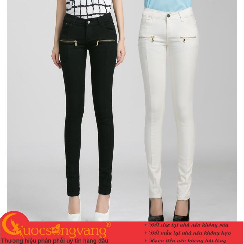 Quần nữ quần jean nữ đẹp co giãn skinny túi khóa GLQ008