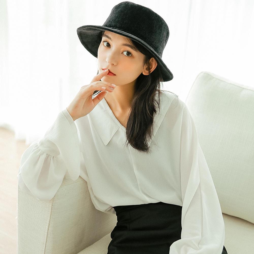 áo voan chấm bi tay dài cổ v thời trang dành cho nữ