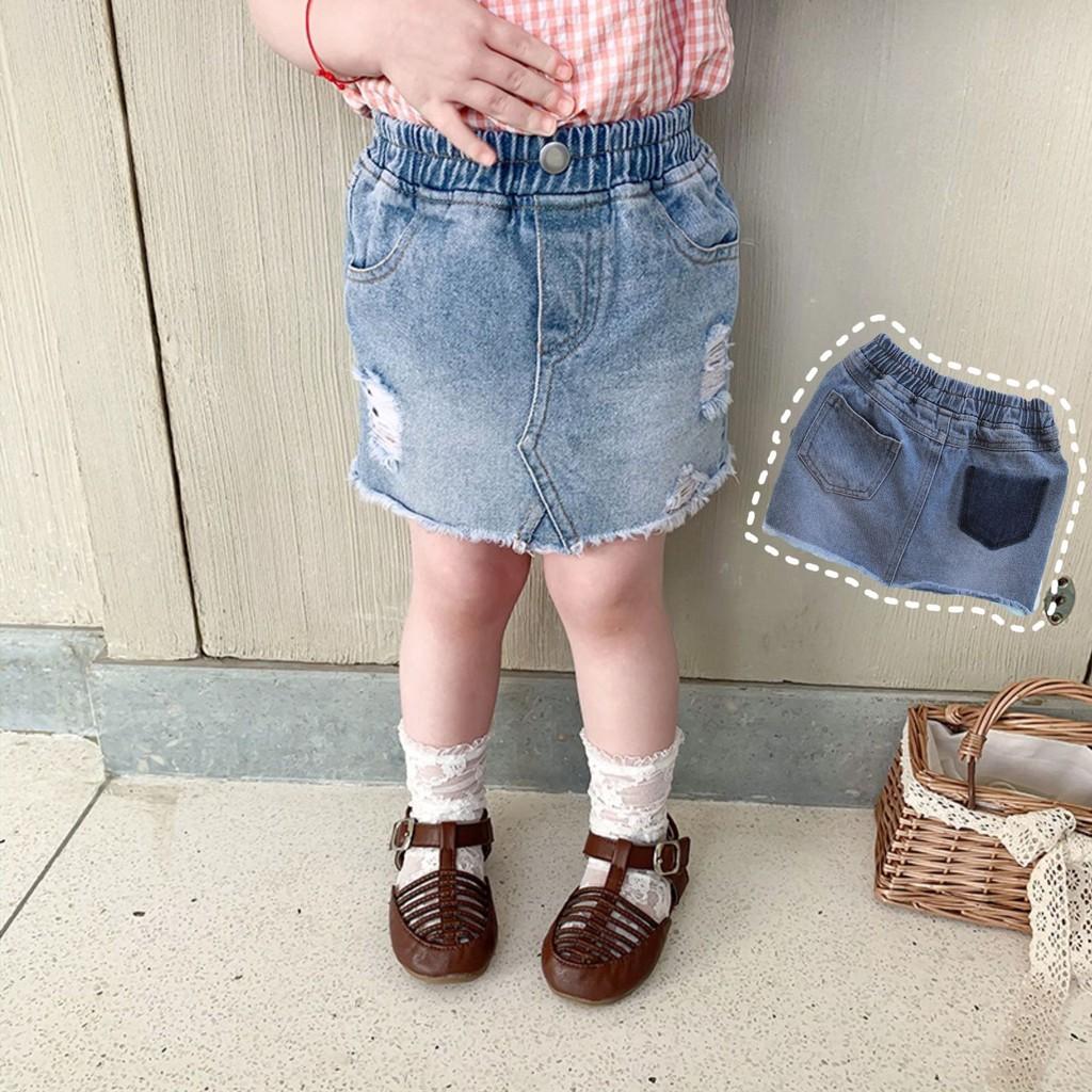 Chân váy jean túi đậm màu bé gái size 80->130