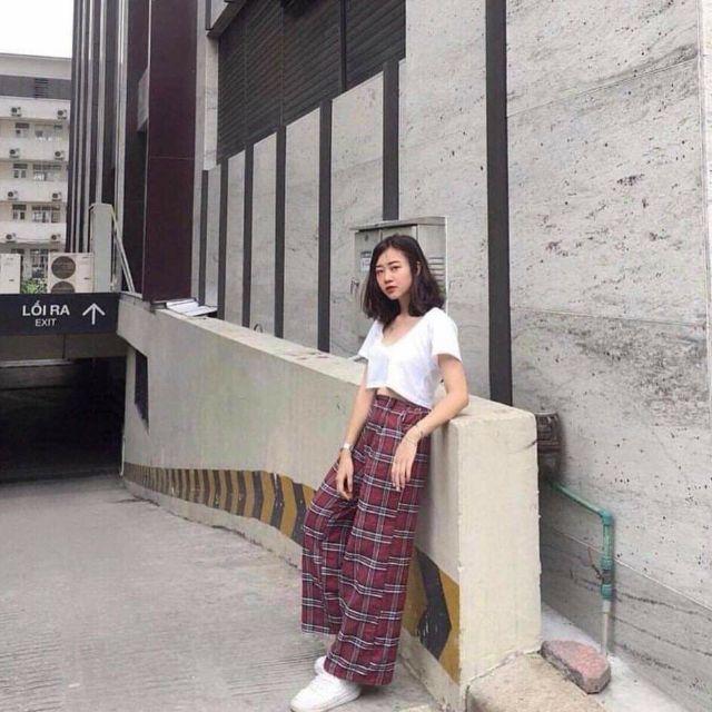 Quần culottes ống rộng caro vải thô mềm + hình thực khách chụp