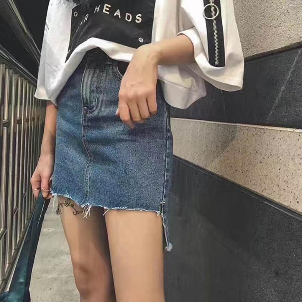 Chân váy jean lệch vạt