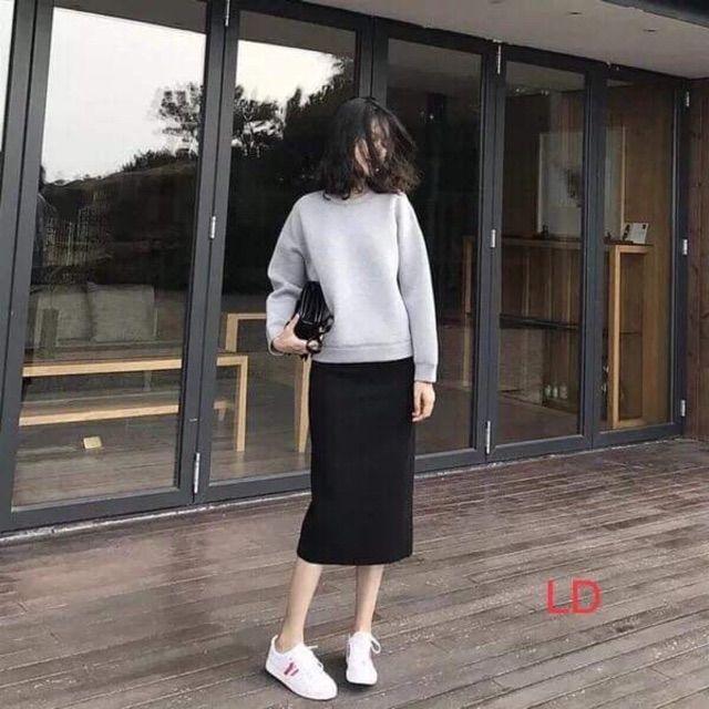 Set áo trơn xám+ chân váy xinh