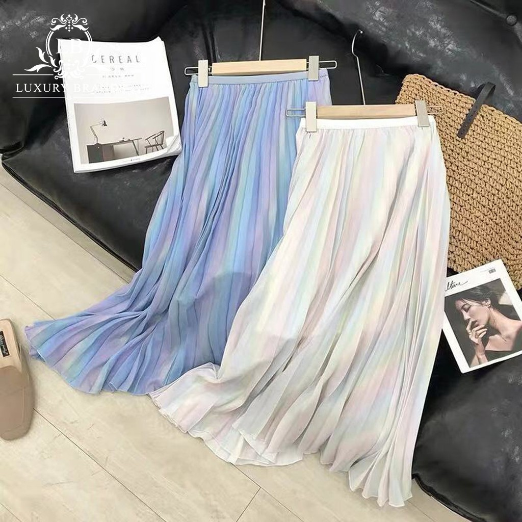 Chân váy midi dài xếp ly eo chun lấp lánh cầu vồng hologram ulzzang Hàn Quốc