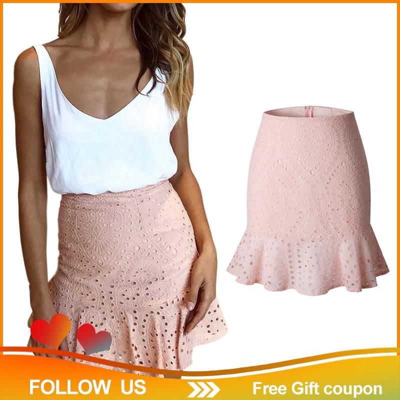 Chân váy ren lưng cao màu hồng ngọt ngào cho nữ