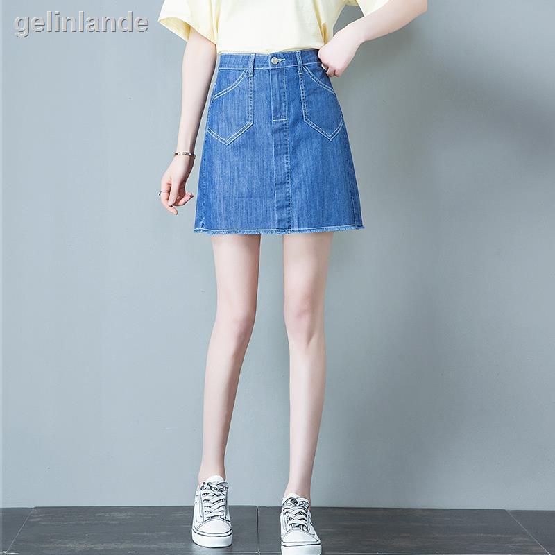 Chân Váy Denim Chữ A Lưng Cao Phong Cách Trẻ Trung Cho Nữ