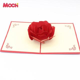 M0C Rose Paper Cuttings Craft Creative 3D Greeting Card Festival Gift