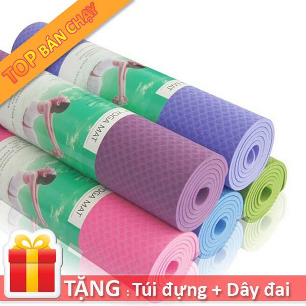 Thảm tập Yoga/Gym/Thể dục TPE 6mm/1 lớp Đài Loan (Tặng: Túi + Dây buộc) Êm ái, siêu bám, chống trượt tốt