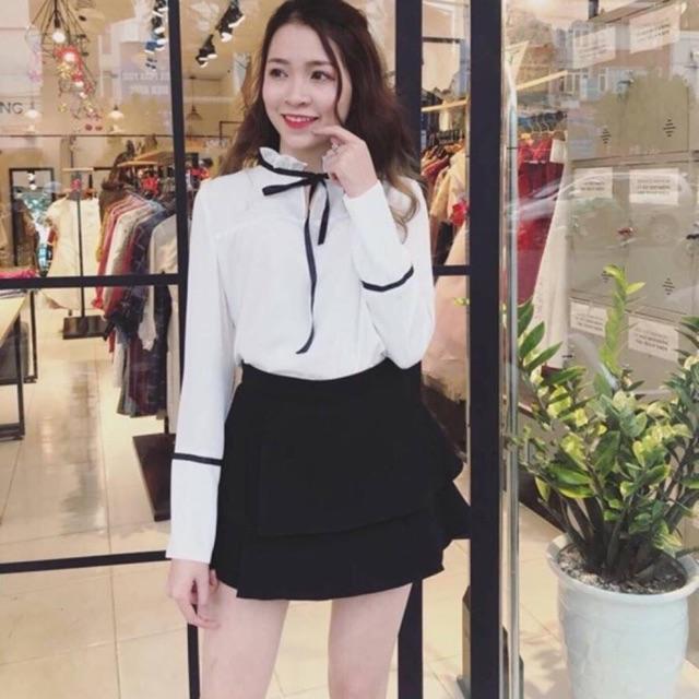 Sét áo voan trắng với chân váy