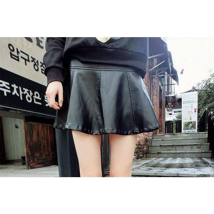 Chân váy đen da