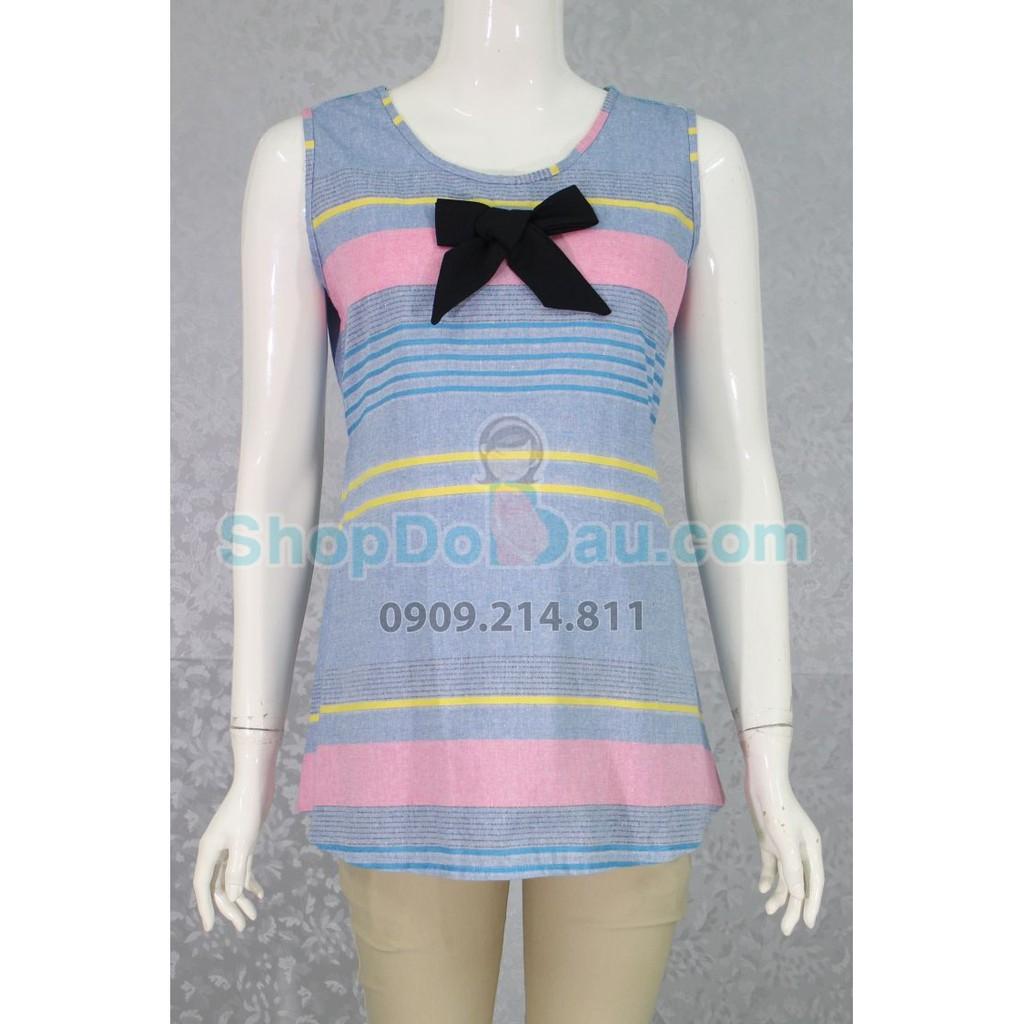 Áo bầu cổ tròn - nơ - vải thổ cẩm - vải mát (Mã số: AB1554)