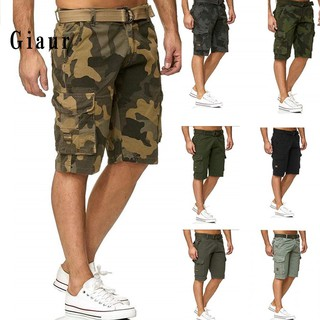 GIAUR  Men Multi-Pocket Military Camo Sports Cargo Shorts Fifth Pants with Waist Belt
