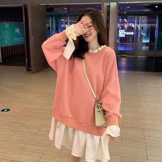 Sweater đầm hàn quôc hồng 2020 (nhungiii2211)