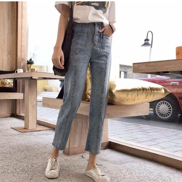 Quần jeans túi gân