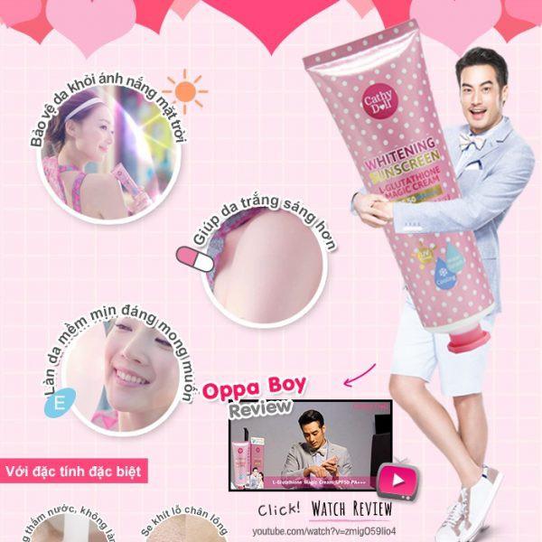 [Mã COSHOT18 hoàn 10% xu đơn 300K] Kem Chống Nắng Body Cathy Doll Whitening Sunscreen SFP 50 PA+++ Thái Lan 138ml