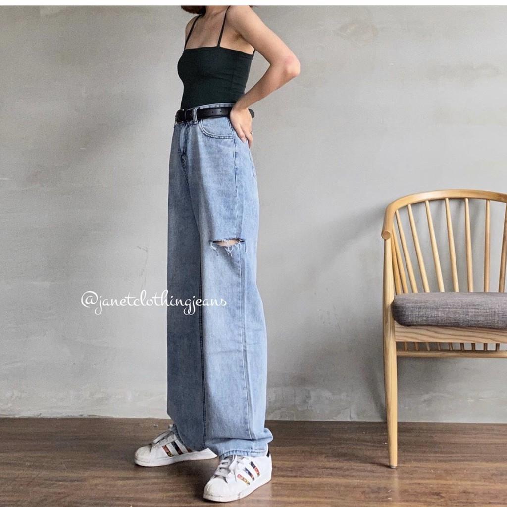Quần jean ống rộng dài bigsize lưng cao Ulzzang rách hông - Quần bò cullotes dài ngoại cở lưng cao