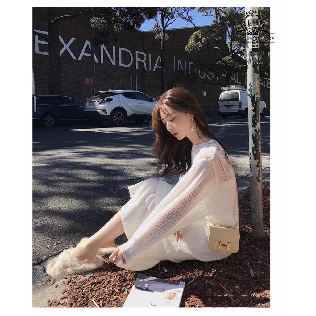 3806954073 - Váy đầm dài tay len mỏng trắng thu đông❤️Tặng Quà VIP❤️Ưu Đãi Lớn-Hôm Nay - Đẹp, Phong cách trẻ trung,sang trọng
