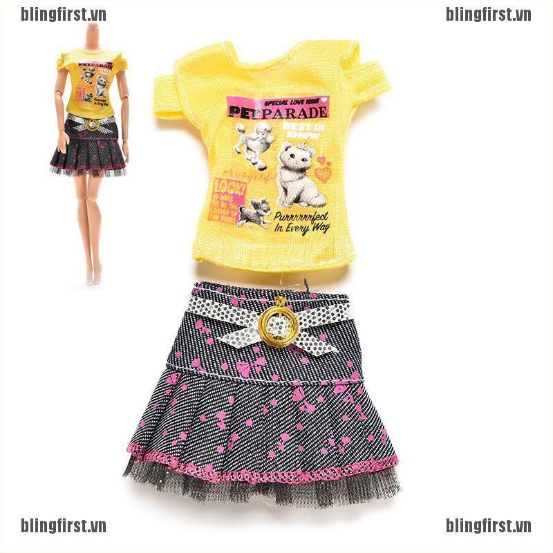 Set chân váy và áo xinh xắn cho búp bê Barbie