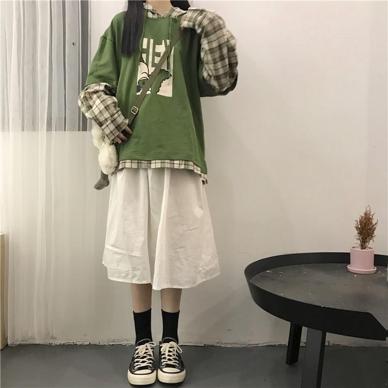 Set Áo Hoodie In Chữ Và Chân Váy Caro Phong Cách Hàn Quốc Xinh Xắn Cho Nữ