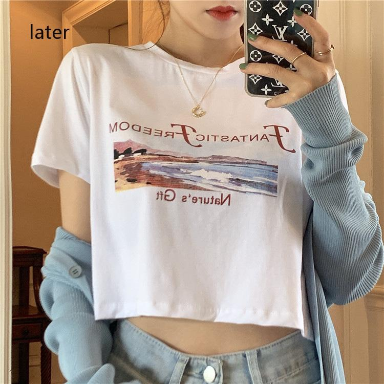 with sleeve out short version T-shirt summer short exposed machine fashion for Korean inside New women's watch of Yafeng, navel top