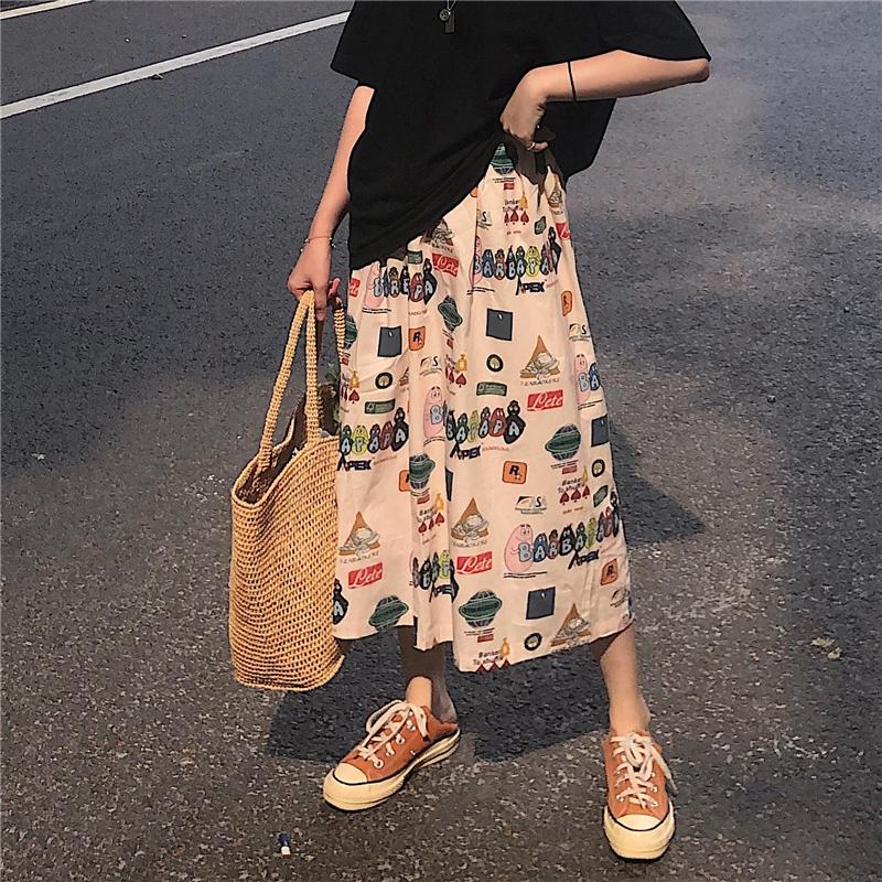 Chân váy chữ A họa tiết hoạt hình kiểu Hàn Quốc