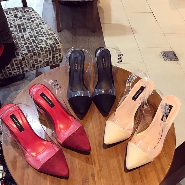 Giày bb cao gót phối mica