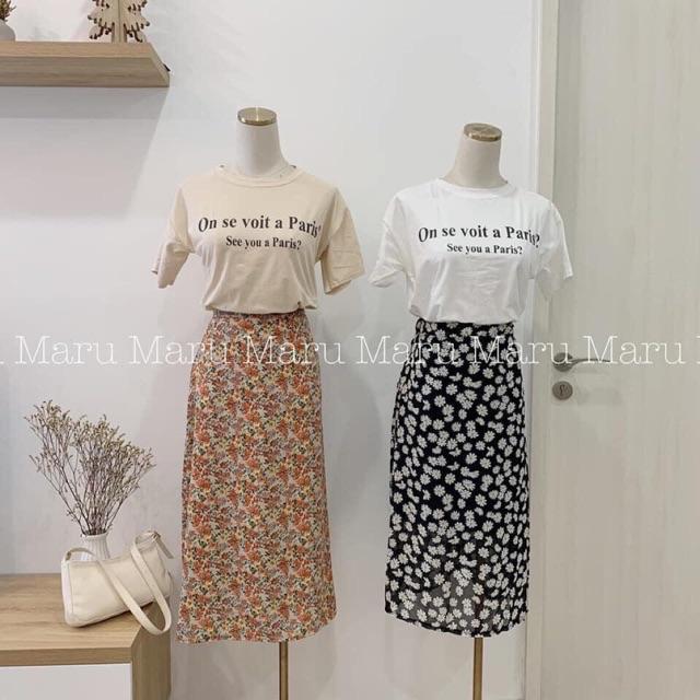 Set áo thun trắng + chân váy hoa hàng quảng