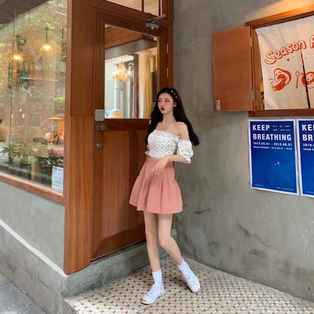 Sét áo hoa ngắn tay vs chân váy hồng