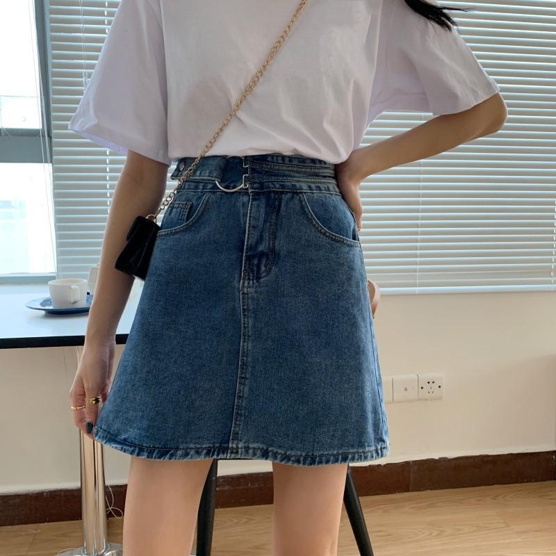 Chân Váy Denim Phong Cách Retro Cá Tính Cho Nữ