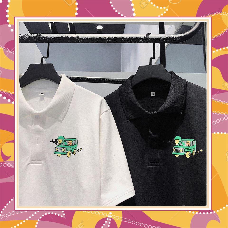 [KHUYẾN MẠI 50%] Áo POLO Tay Lỡ PUBG Unisex (Trắng/Đen) , áo thun tay lỡ, quần kaki