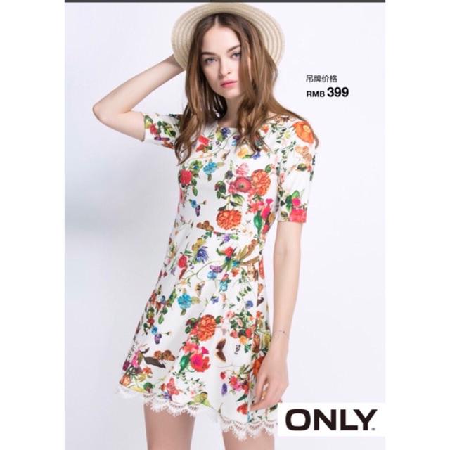 Váy hoa Only phối viền chân ren dư xịn