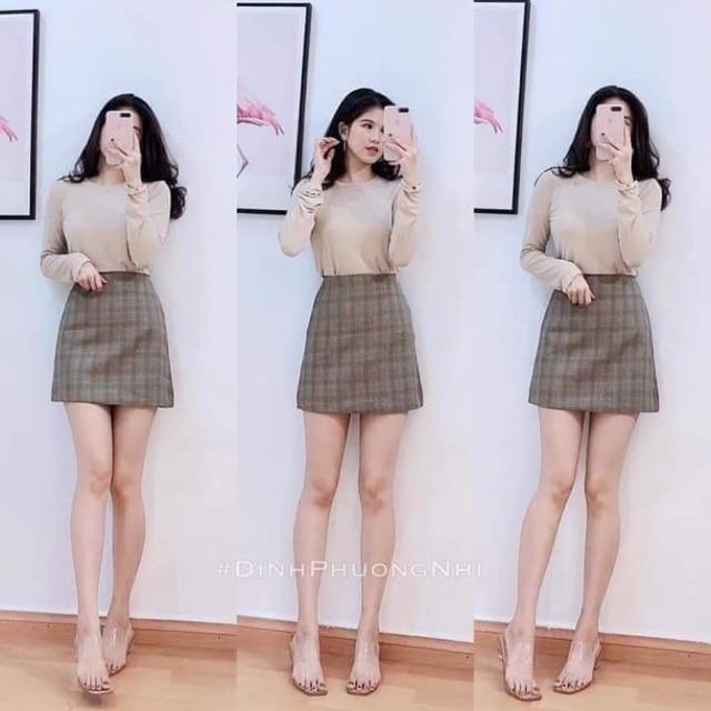 Sét áo thun phối chân váy kẻ siêu xinh