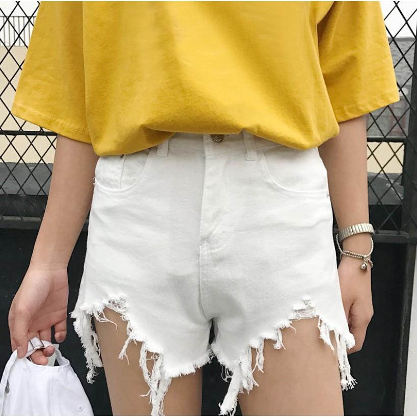 Quần Nữ, quần short jeans lưng cao rách, MR887 - TRẮNG