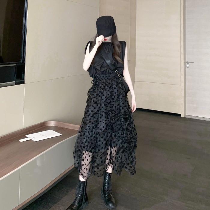 Set Áo Thun Tay Ngắn + Chân Váy Lưng Thun Phối Lưới Họa Tiết Chấm Bi Xinh Xắn