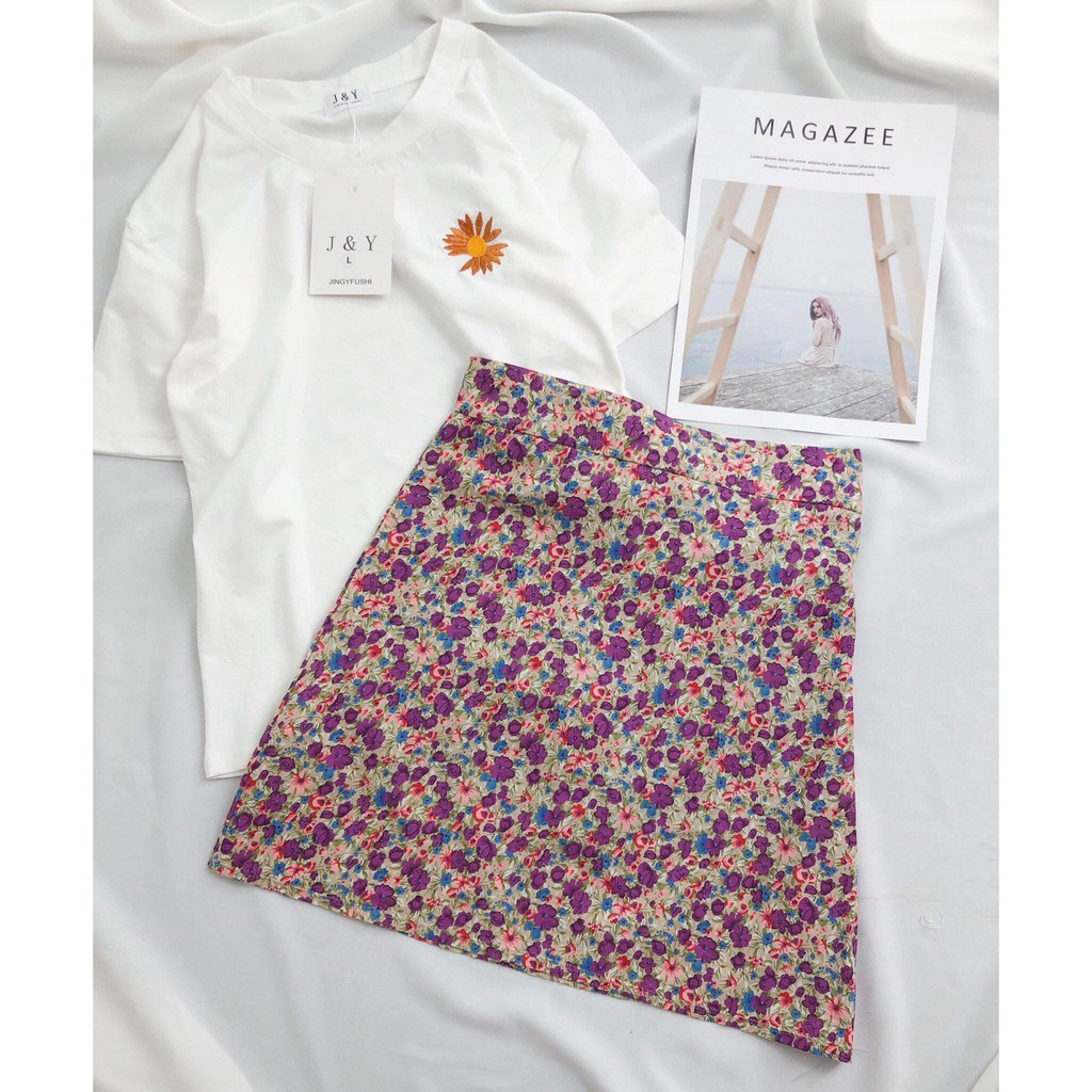 Set áo phông mix chân váy