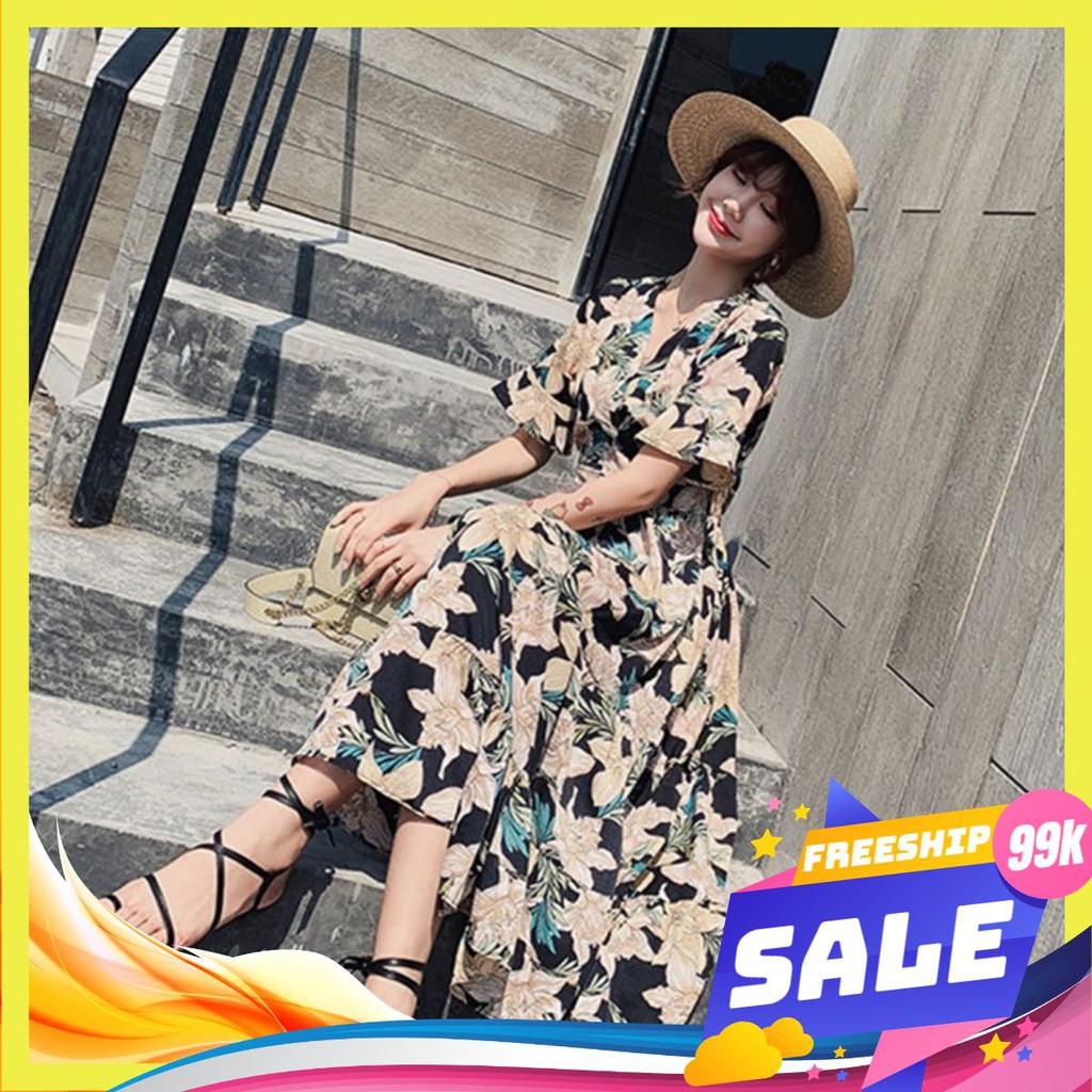 [Sale 30%] Mẫu mới đầm lụa hoa thời trang hàn quốc mới nhất