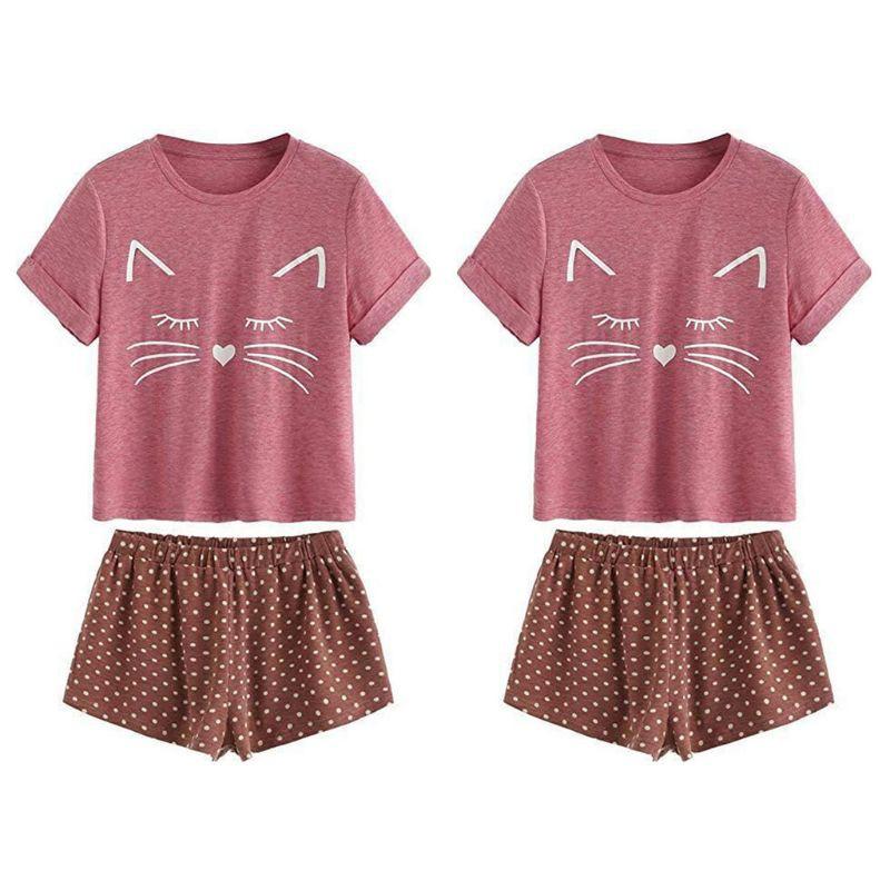 Set Pajamas áo thun ngắn tay cổ tròn + quần short lưng cao in hình Meow dễ thương cho nữ