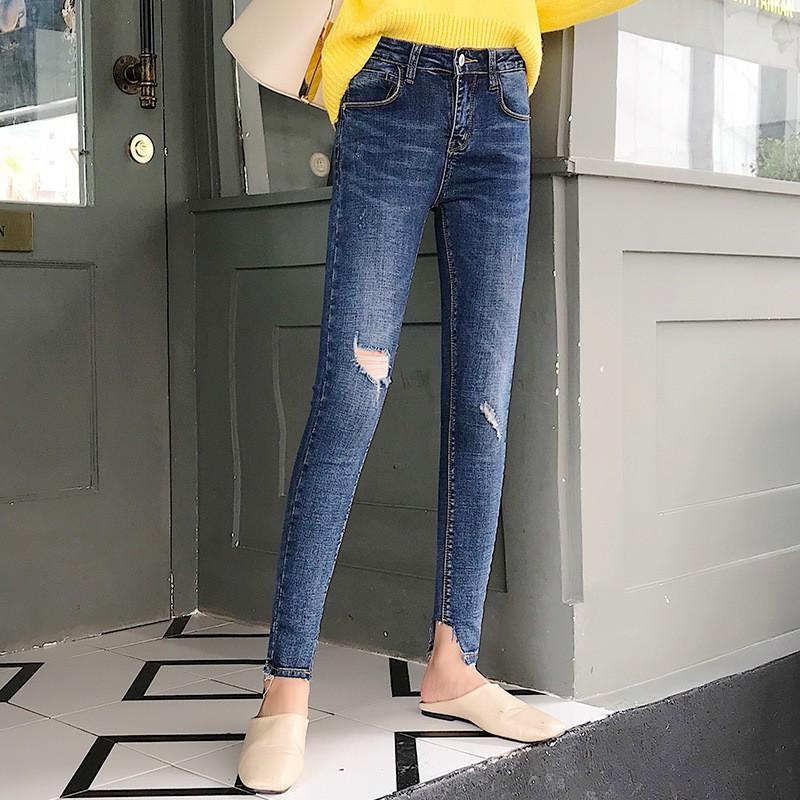 quần jean nữ lưng cao rách gối siêu đẹp