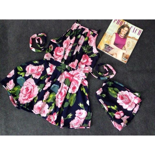 Đầm hoa kèm quần cho bạn nữ năng động
