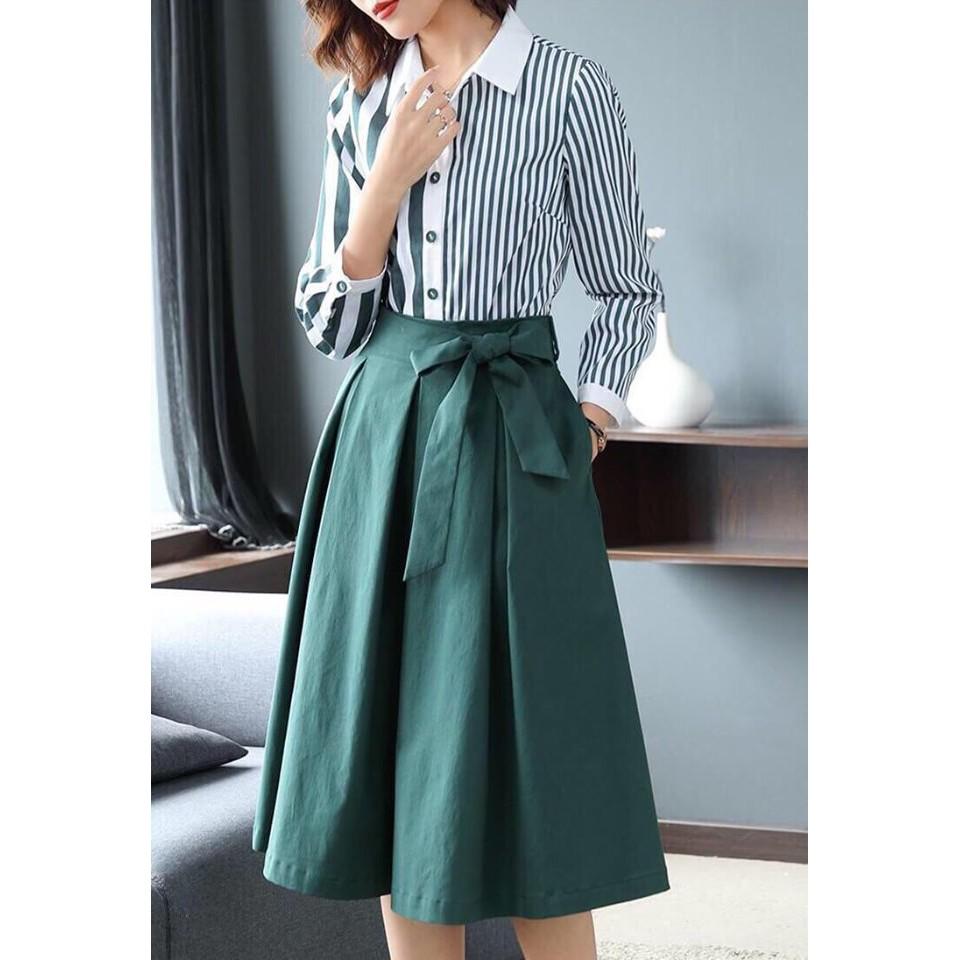 [Hàng Quảng Châu] - Set đầm áo sơ mi phối sọc chân váy xòe cao cấp - ST466