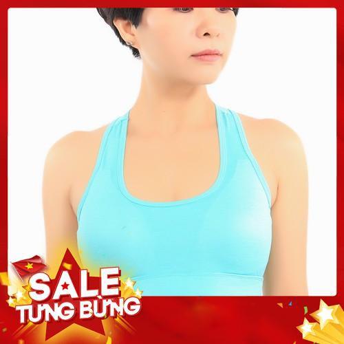 Áo tập thể thao nữ có mút đệm ngực chất thun Hàn Quốc cao cấp màu xanh (VNXK)
