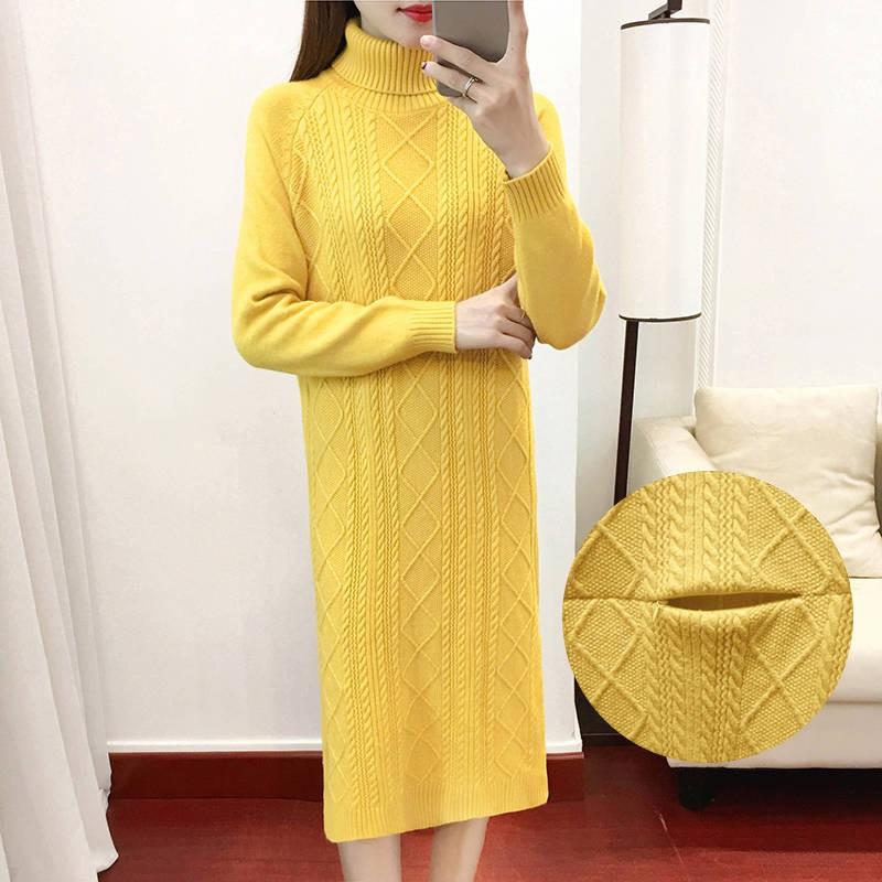 5300532901 - đầm tay dài cổ lọ thiết kế hợp thời trang cho phụ nữ mang thai