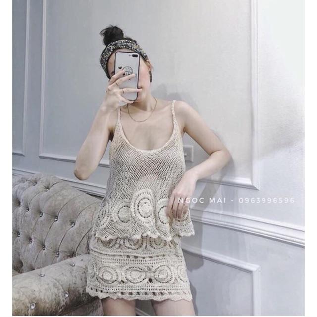 Set áo len 2 dây + chân váy hoạ tiết tròn